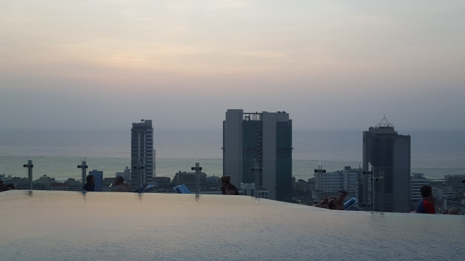 Sunset from the rooftop pool at Cinnamon Red Colombo