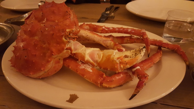 Norwegian king crab in Beast Restaurant, London