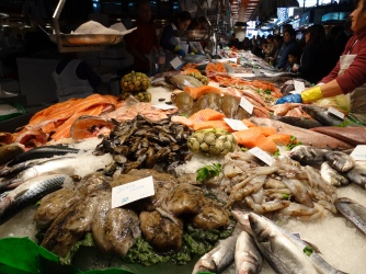 A fish stall at Mercado de La Boqueria, Barcelona