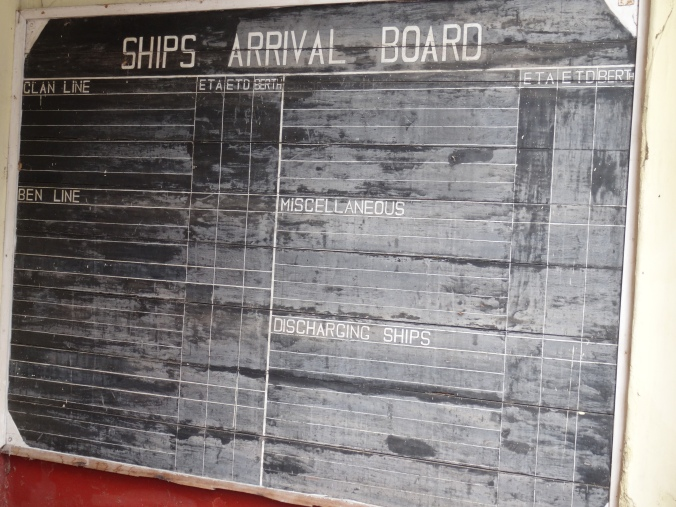 The ships arrival board at the Old Lloyd's Office Galle Fort