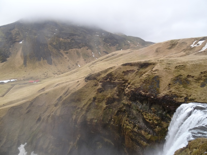 The view from the top of Skógafoss waterfall, Iceland