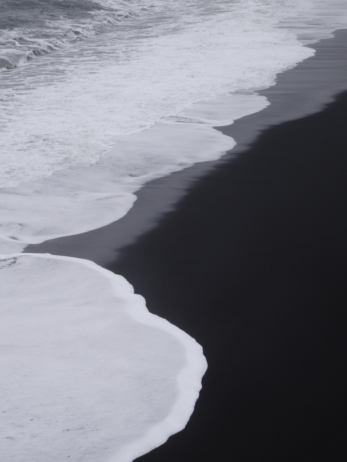 Waves on Dyrhólaey's black sand beach, Iceland