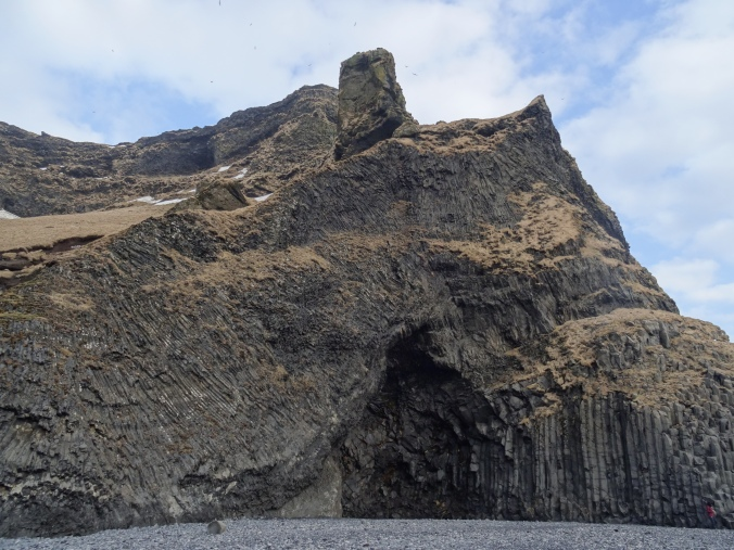 Basalt column formations on Reynisfjara beach, Iceland