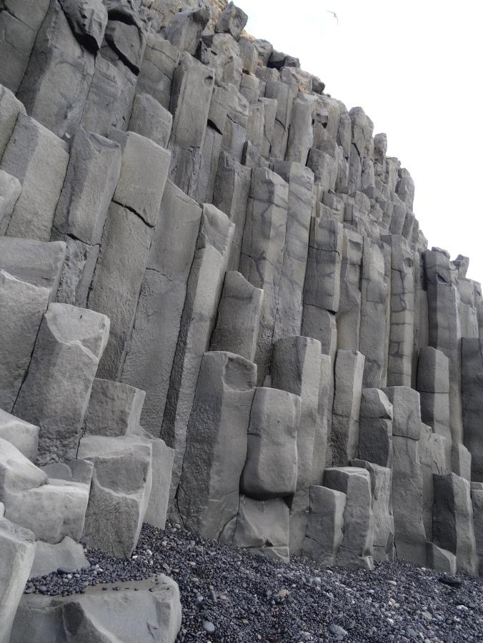 Basalt column formations on Reynisfjara beach, Iceland