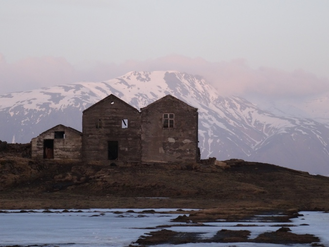 Sunset behind from the derelict buildings on Iceland's Ringroad
