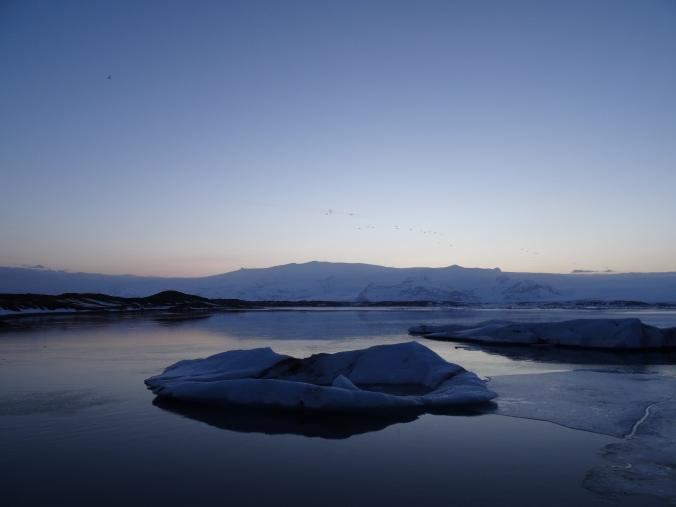 Icebergs at dusk in Jökulsárlón glacial lagoon, Vatnajökull National Park, Iceland