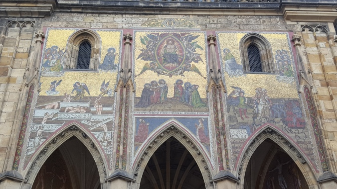 The beautiful 14th century Last Judgement mosaic on the South portal of St. Vitus' Cathedral, Prague