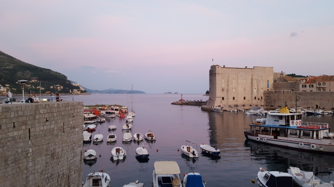 Sunset across Dubrovnik harbour