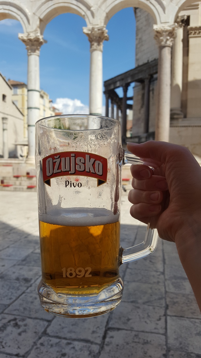 Cold Ozujsko beer in the peristyle, Diocletian's Palace, Split