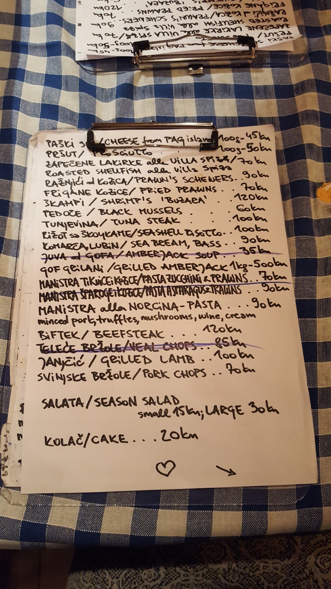 Daily menu in Vila Spiza restaurant, Split