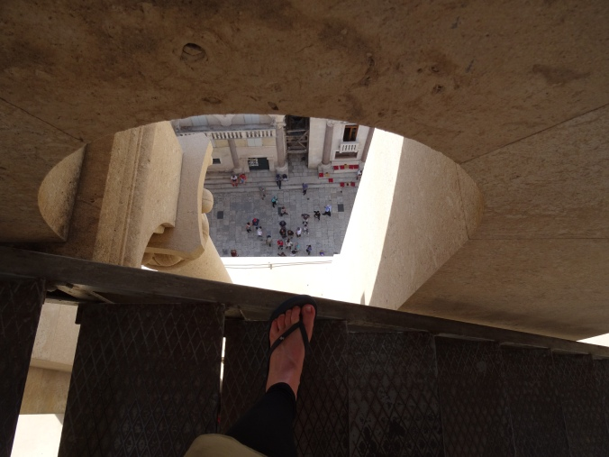 View through the open sides of the bell tower, Split