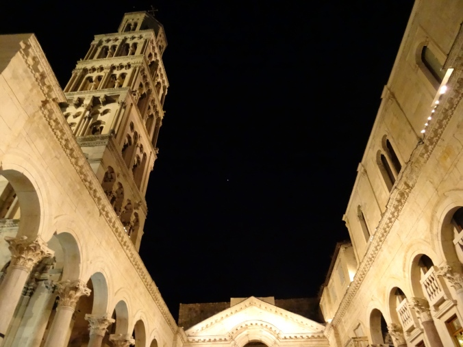 Peristyle and bell tower at night, Diocletian's Palace, Split