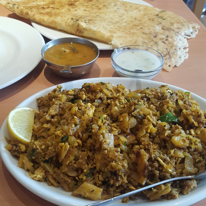 Mutton kottu poratha and rasa dosa at Dosa World, Hanbury Street