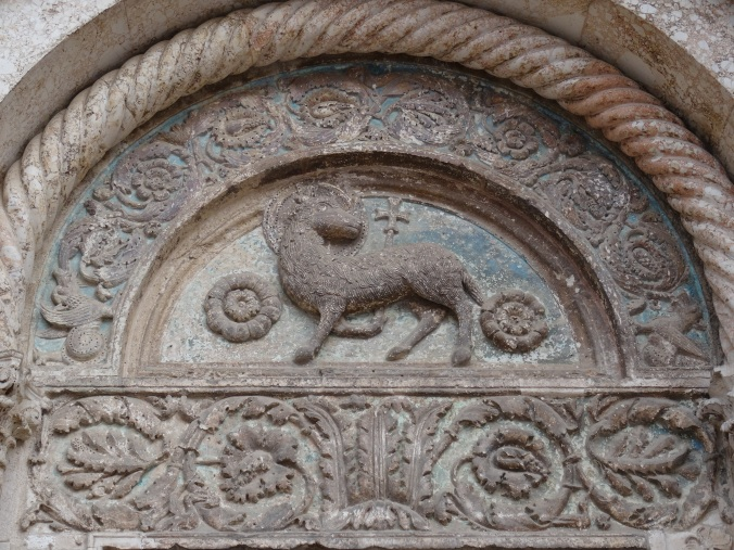 Detail of tympanum on the Cathedral of St Anastasia