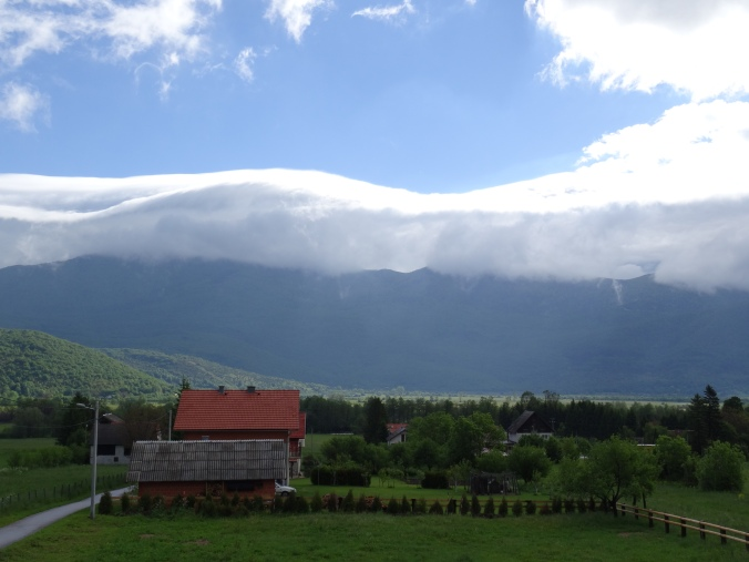 Clouds over the mountains near Plitvice National Park