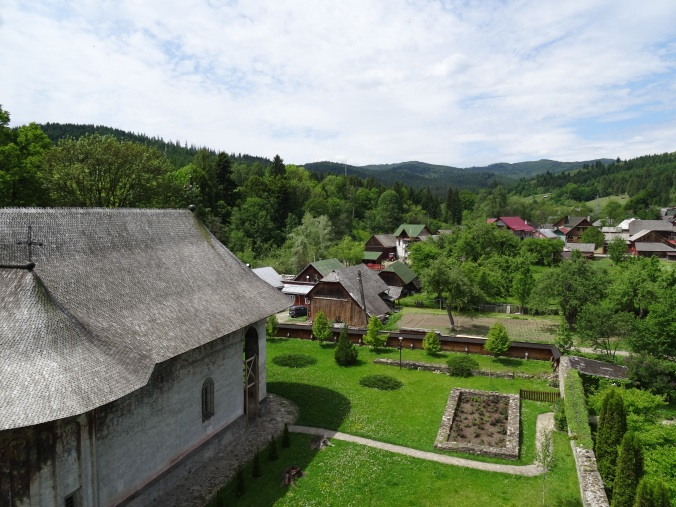 View of the monastery from the watch tower at Humor Monastery, Bucovina