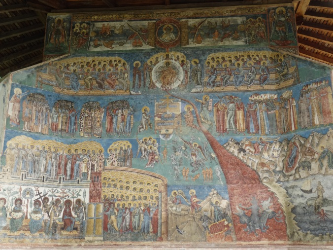 Last Judgement scene on the west wall of Voronet Monastery