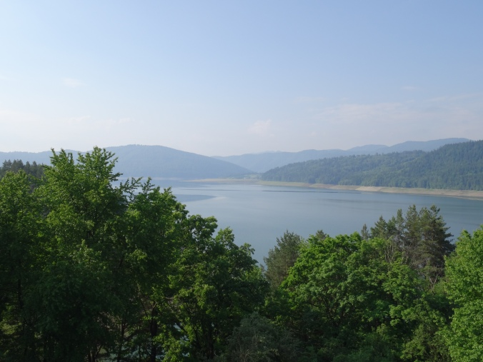 Panoramic view of the man made Lake Izvorul Muntelui, Neamt County, Romania