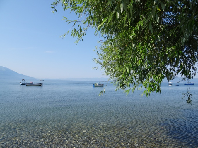 Boats on Lake Ohrid from Kaneo Beach