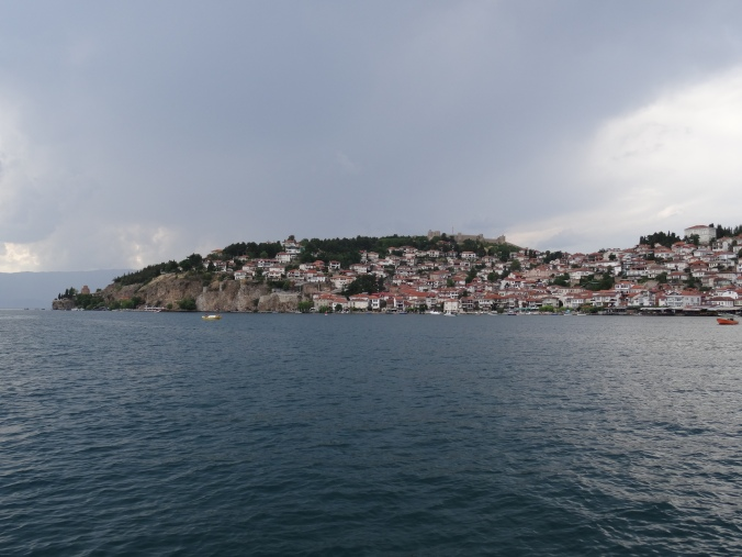 View of Ohrid from the boat to St Naum