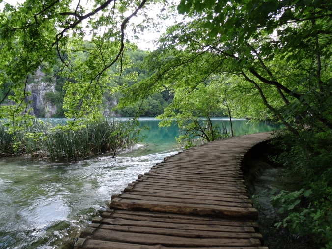 Boardwalk opening out onto a lake, Plitvice National Park
