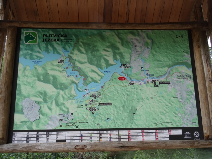 One of the park maps, Plitvice National Park