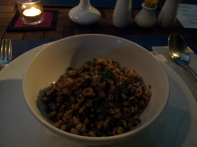 Terrible photo of the delicious fried corn at Haven restaurant, Siem Reap