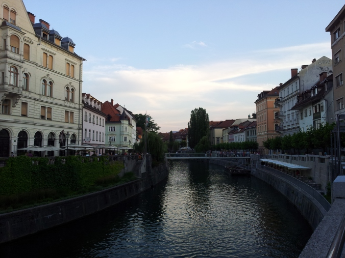 Sunset in Ljubljana over the Ljubljanica River, Slovenia