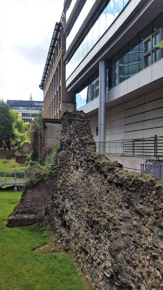 Parts of London's Roman Wall visible on Noble Street where a Roman Fort was situated.