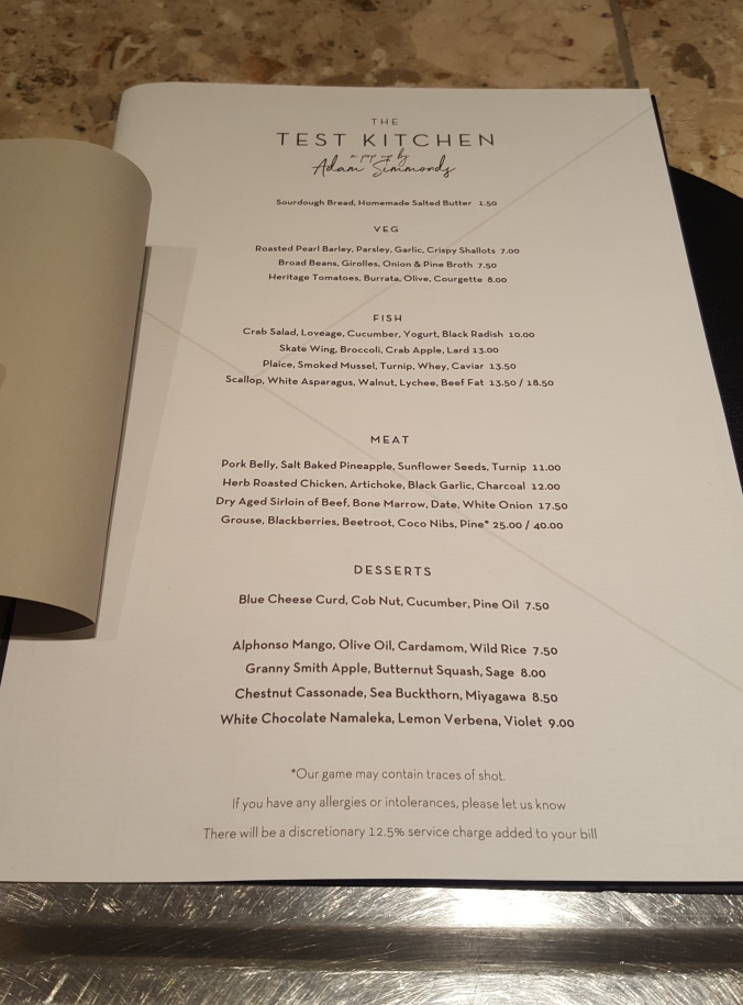 The menu at The Test Kitchen October 2017