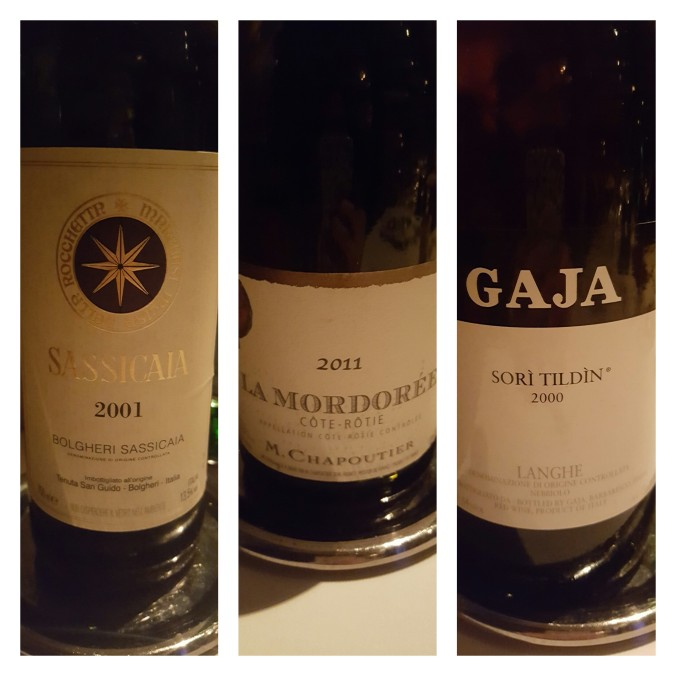 A good evening's drinking at Locanda Locatelli- Sassicaia 2001, Cote-Rotie 2011, Gaja 2000