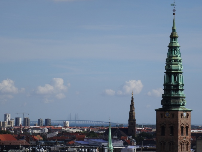 View from the Rundetaarn 'Round Tower', Copenhagen, including the helix spire of the Church of Our Saviour