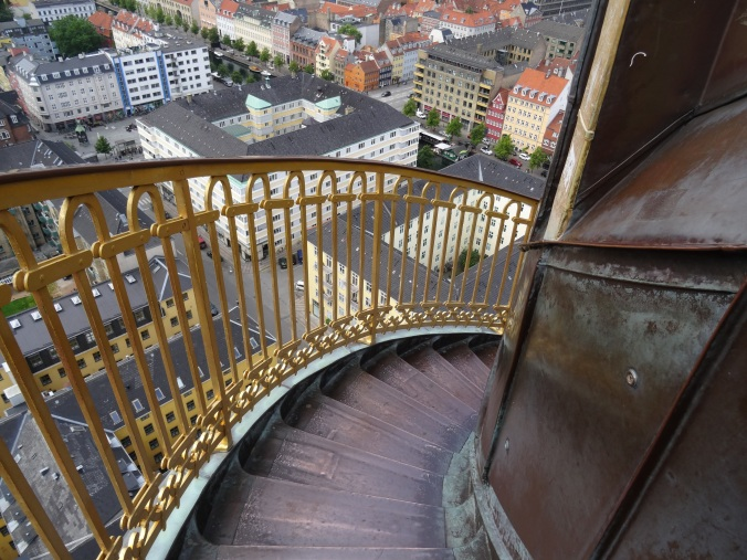 Spiral staircase and view from the spire of the Church of Our Saviour, Copenhagen