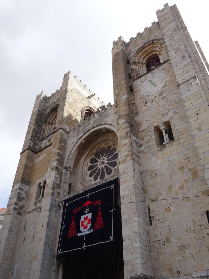 Facade of Lisbon Cathedral: Santa Maria Maior de Lisboa or Sé de Lisboa