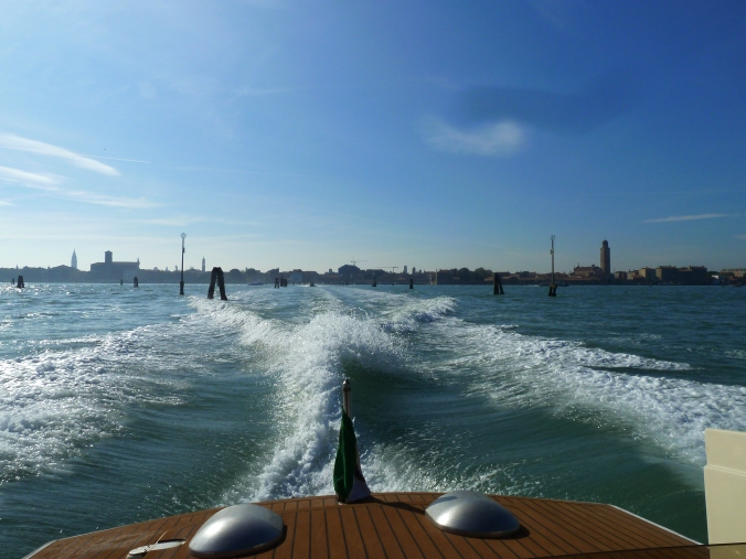 Leaving Venice in a water taxi