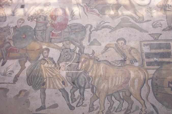 Mosaics of rural Roman life in Villa Romana del Casale, Piazza Armerina, Sicily