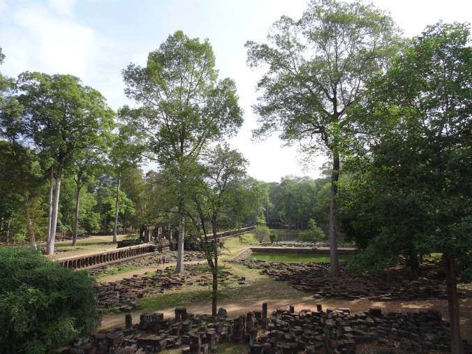 Looking back at the stone walkway leading up to Bauphon temple