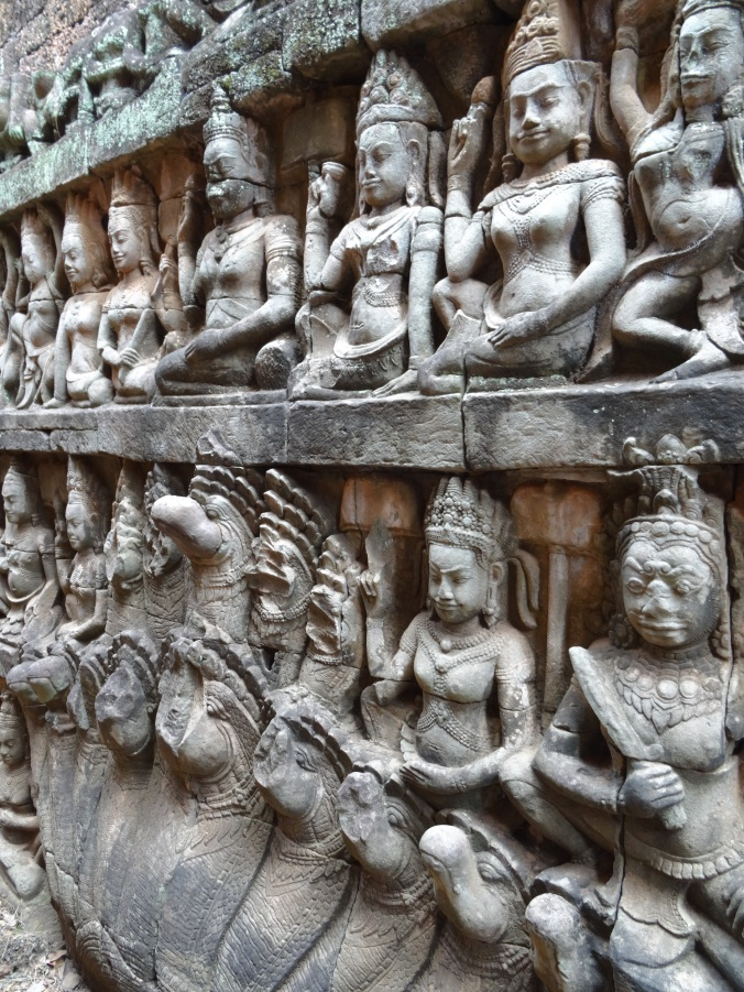 Carvings inside the Terrace of the Leper King in Angkor Thom