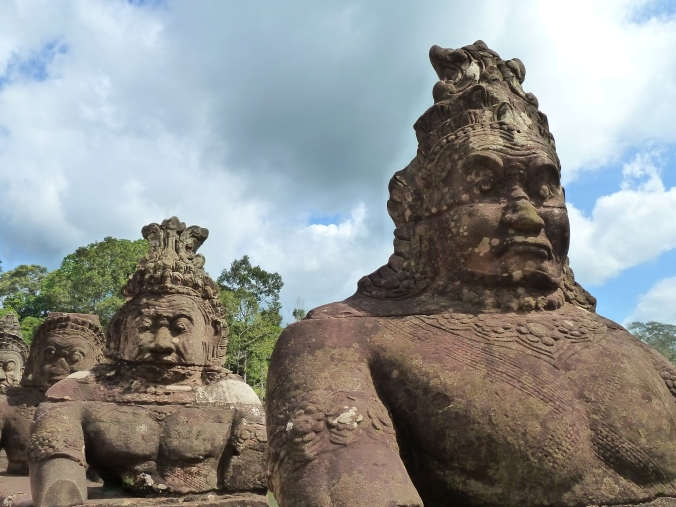 Gods and demons on the walkway across Angkor Thom's moat