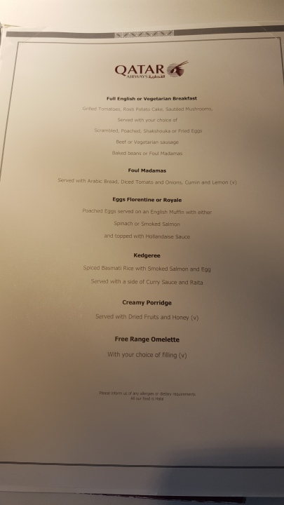 Qatar First and Business Class Lounge a la carte menu