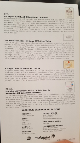 Wine list Malaysia Airlines business class LHR to KUL route