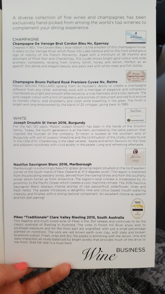 Malaysia Airlines business class wine list