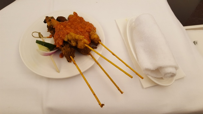 Malaysia Airlines chicken and beef satay
