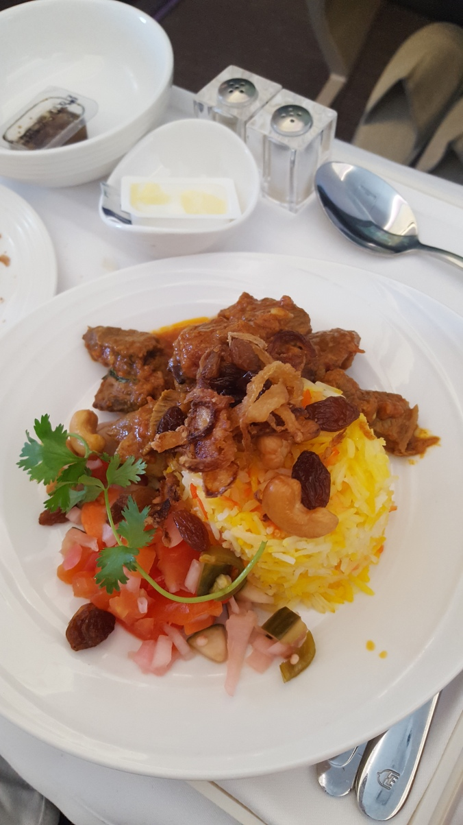 Malaysia Airlines business class Lamb Biryani
