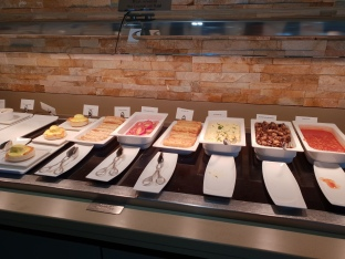Hot breakfast buffet selection in the Emirates Lounge, Gatwick