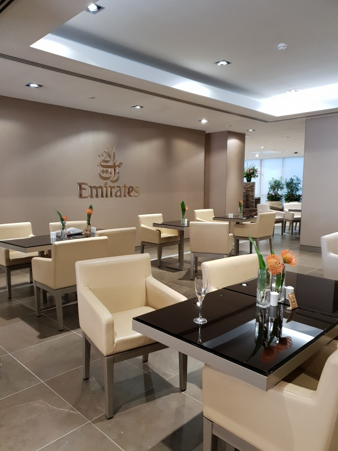 Dining area in the Emirates Lounge, Gatwick