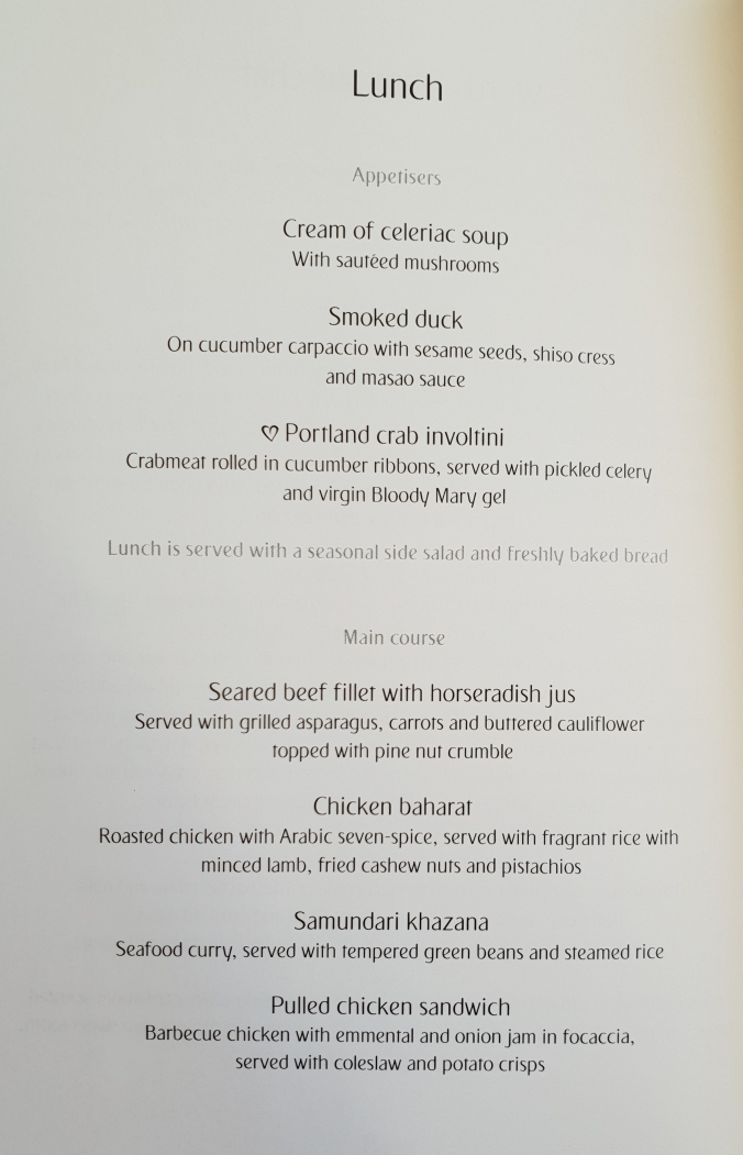 Emirates business class London - Dubai lunch menu