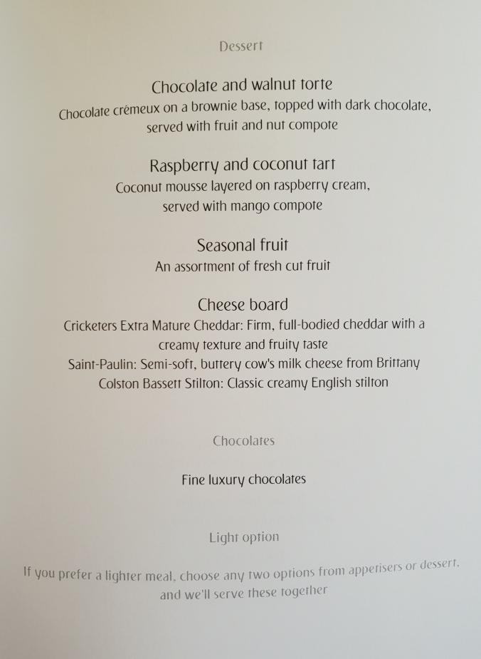 Emirates business class London - Dubai lunch menu