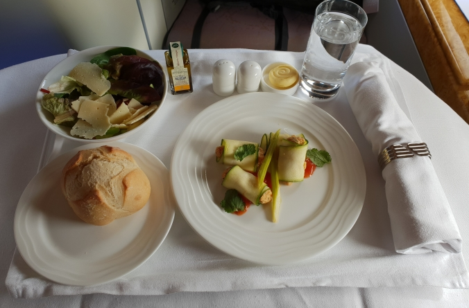 Emirates A380 business class lunch London to Dubai crab involtini, bread and salad