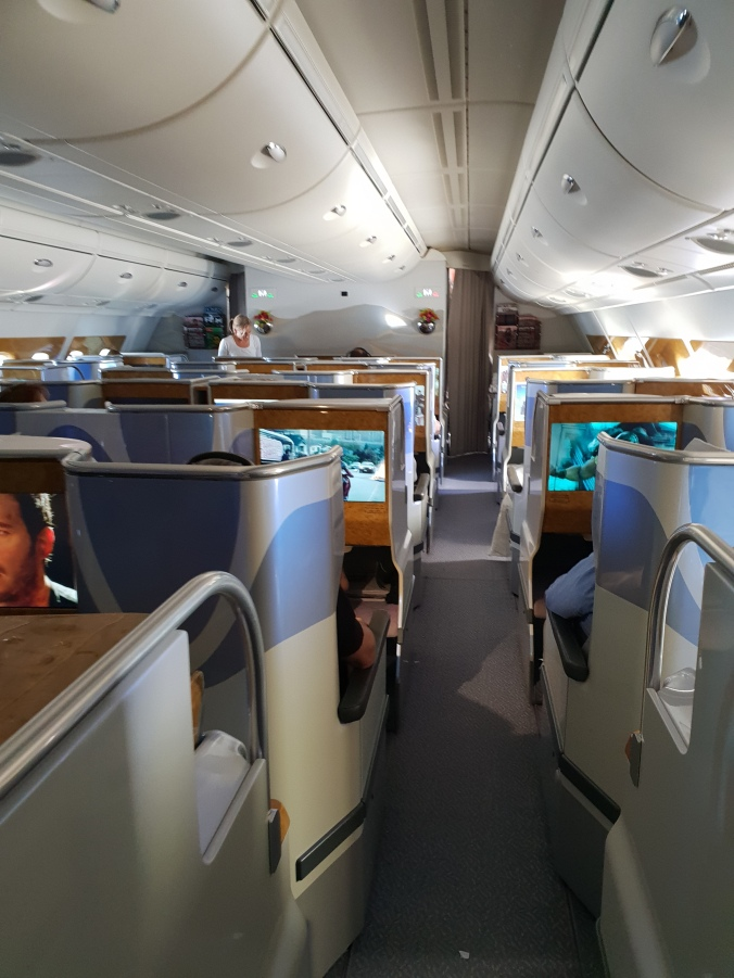 The front cabin of Emirates business class A380
